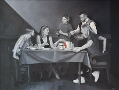 The Potato Eaters - Dirk Bal, 21st Century Oil Painting Inspired By Van Gogh