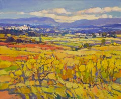 Landscape in Yellow - 21st Century Contemporary Oil Painting by Dutch Jos Leurs