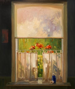 Blue Vase In Window Lighting - 21st Century Contemporary Dutch Oil Painting