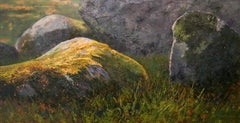 Moss - 21st Century Contemporary landscapepainting of stones in nature