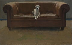 Green Hase- 2ist Century Dutch Painting of a Dog on a sofa