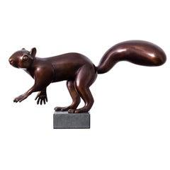 Squirrel- 21st Century Dutch Bronze Sculpture of a Squirrel