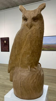 Eagle Owl - 21st Century Sculpture of an Owl made of oak