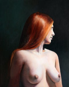 Ginger- 21st Century Dutch Contemporary Painting of a nude woman with red hair