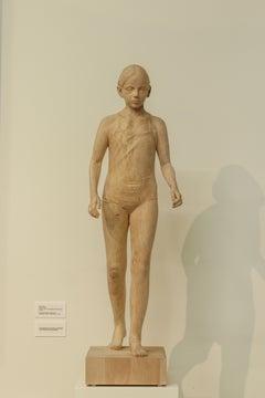 Walking Girl, 21st Century Contemporary Wooden Sculpture by Pedro Quesada Sierra