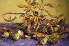 Chestnuts- 21st century Dutch Still-life painting of Autumn chestnuts