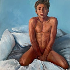 Bedroom-21st Century Figurative painting of a nude boy