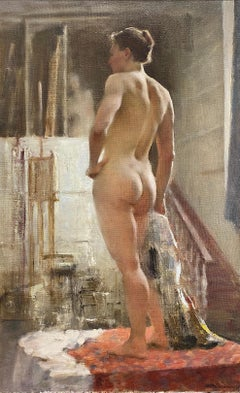 Male model in Studio- 21st Century Contemporary Academic Nude Painting of a male