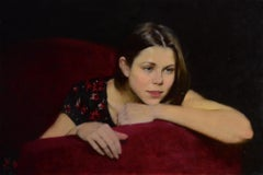Portrait in Red - 21st Century Contemporary Oil Painting by Ksenya Istomina