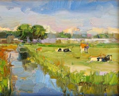 Dutch Landscape with Cows, Water and Trees - Contemporary Art by Roos Schuring