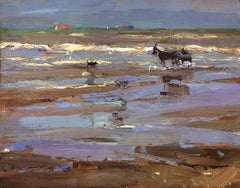 Seascape, Horse Carriage in Tints of Purple - Contemporary Art by Roos Schuring