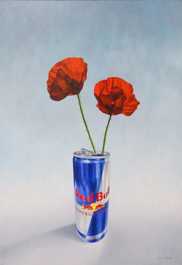 Poppy versus Red Bull - 21st Century Contemporary Still-Life by Dutch JP Marsman - Painting by JP Marsman