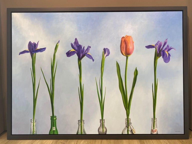 5 Irises and 1 Tulip- 21st Century Oilpainting of flowers in bright colors - Painting by JP Marsman