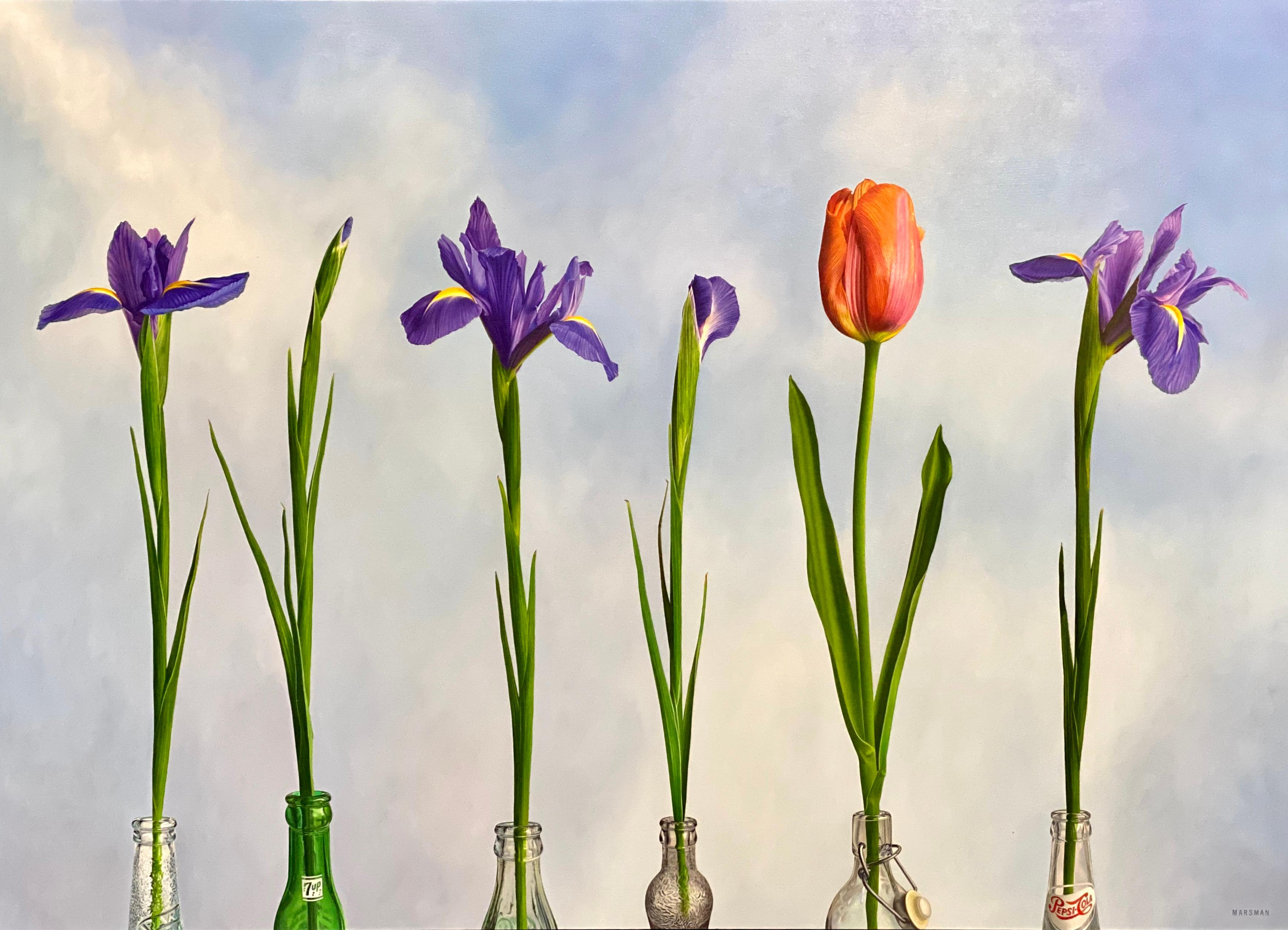 5 Irises and 1 Tulip- 21st Century Oilpainting of flowers in bright colors