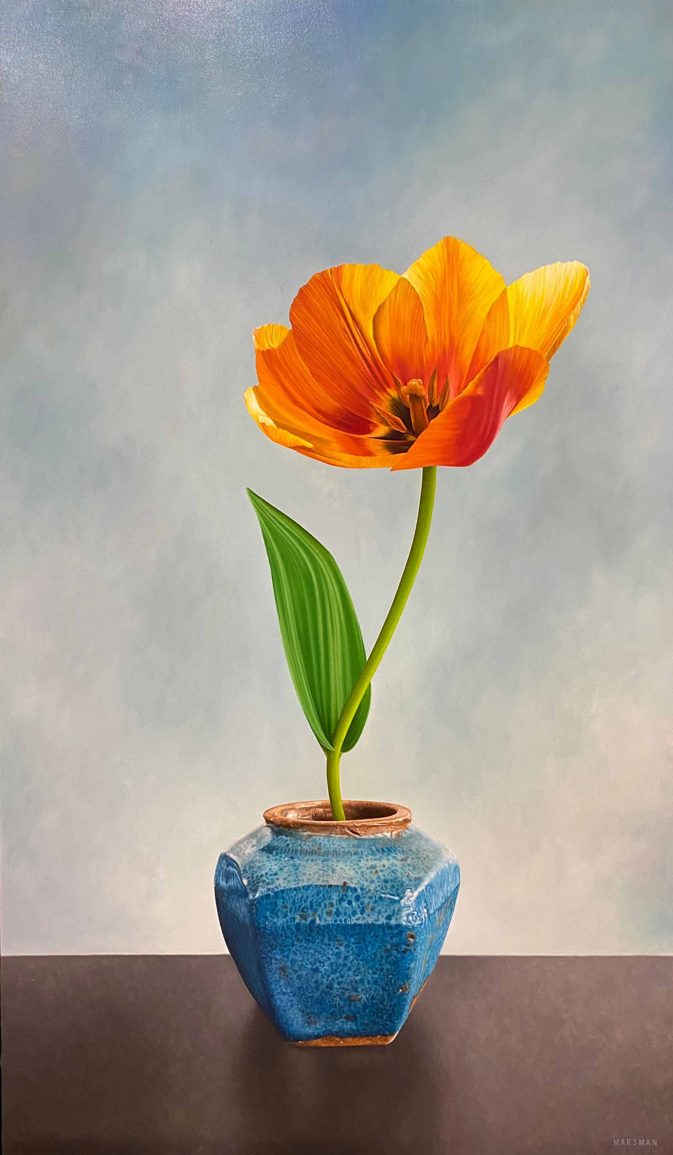 Tulip in Ginger Jar- 21st Century Dutch Oilpainting of a flower in bright colors