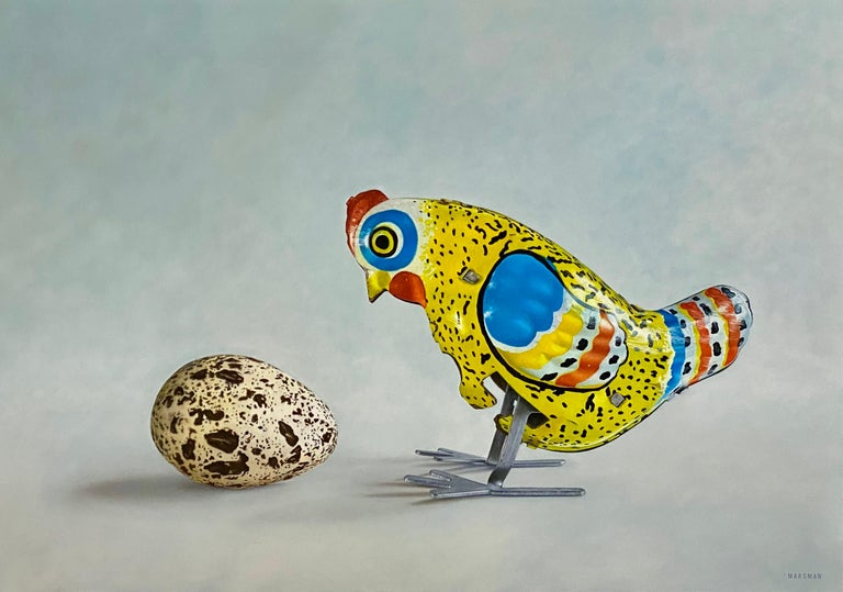 JP Marsman Still-Life Painting - Huh? - 21st Century Dutch  Still-life painting of a Tin Toy Chicken and an egg