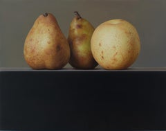 Pears- 21st Century Contemporary Still-life Oil painting of fruits in a row.