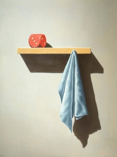 The Morning - 21st Century Contemporary Oil Still-Life of a Dice and Towel