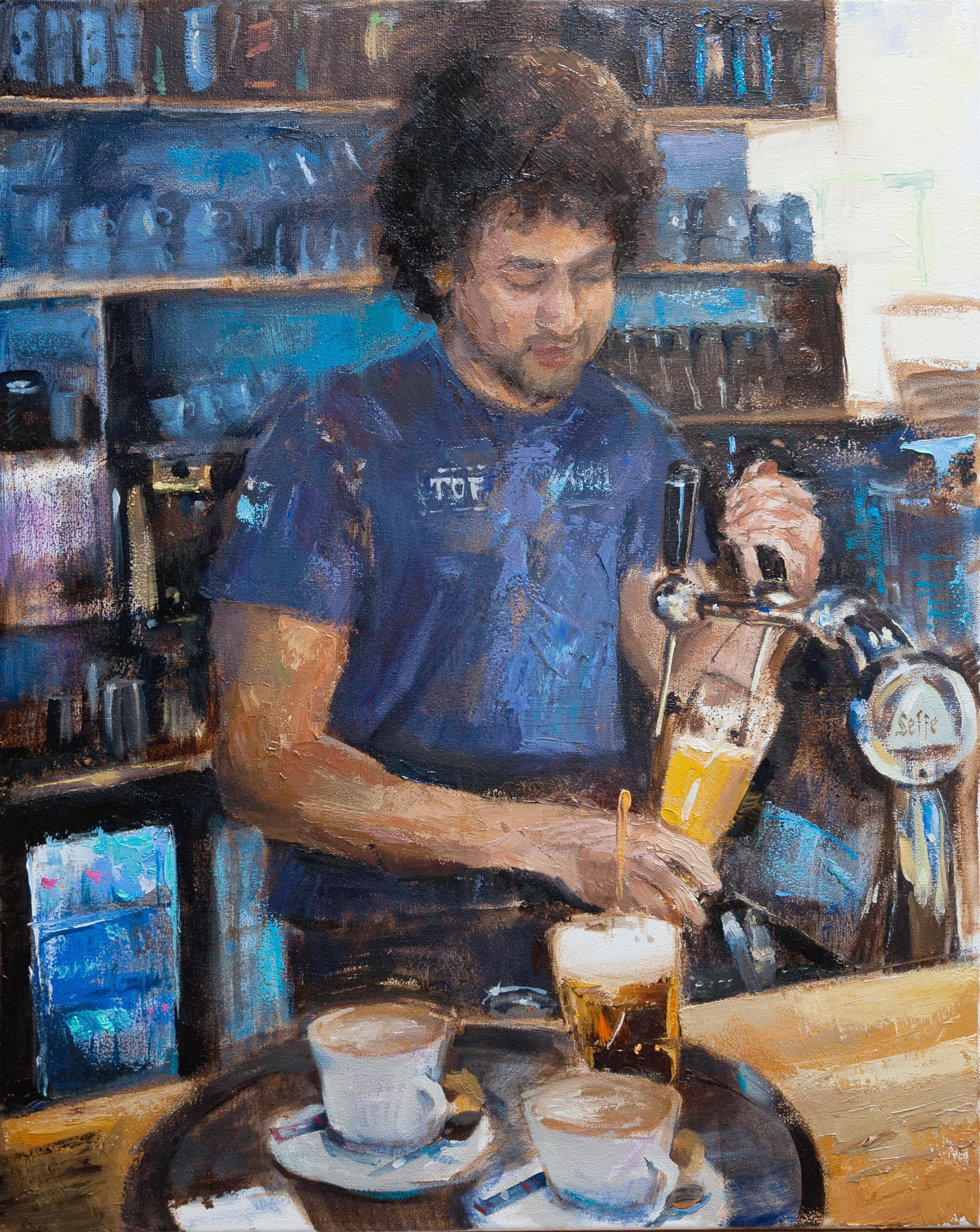 Cheers - 21st Century Contemporary Oil Painting of a Bartender Pouring a Beer