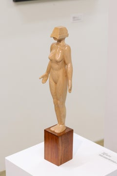Virtual Victoria - 21st Century Contemporary Wooden Sculpture of a Nude Woman