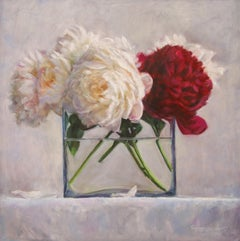Velvet - 21st Century Contemporary Still-Life of a Vase with Red & White Flowers