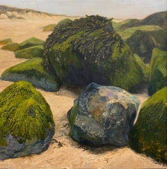 Stones on the Beach- 21st Century Contemporary landscape painting