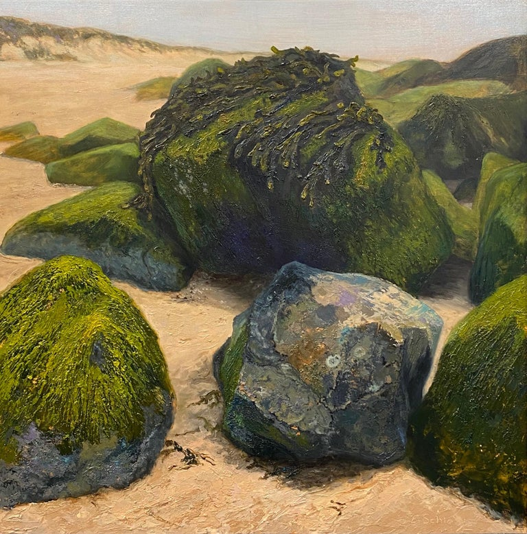 Esther Schlebos Figurative Painting - Stones on the Beach- 21st Century Contemporary landscape painting