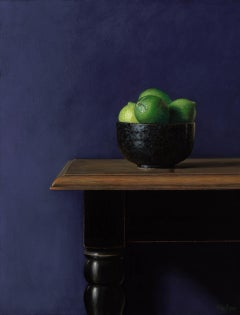 Limes in a black bowl-21st Century Realistic Contemporary Still-life painting