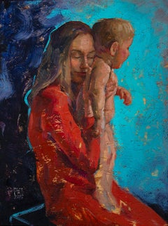 Tenderness - 21st Century Contemporary Colorful Oil Portrait Painting