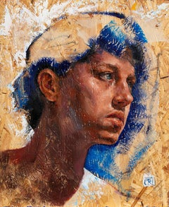 Head Study - 21st Century Contemporary Colorful Oil Paint Portrait of a Boy