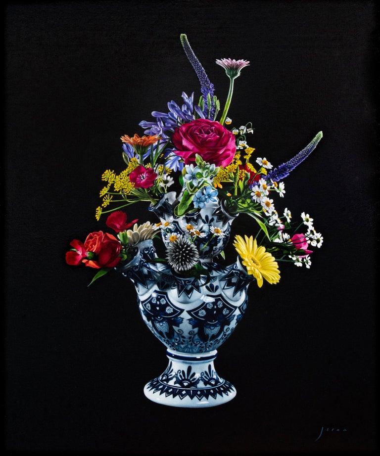 Joran van der Haar Figurative Painting - Flowers-21st Century  Realistic Still-life Painting of a Tulip vase with Flowers