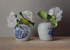 White Hydrangea's in Chinese Pots - 21st Century Contemporary Still-Life
