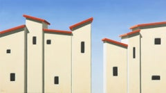 Red Roofs III - 21st Century Contemporary Oil Painting of Rooftops with Blue Sky