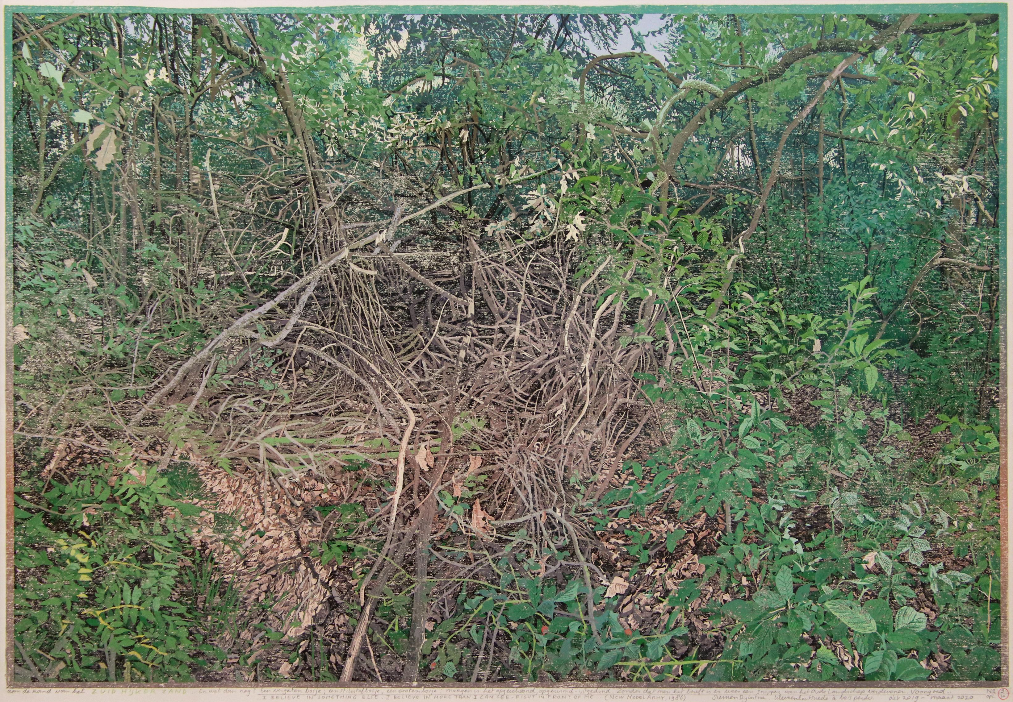Branches in the Forest - 21st Century Contemporary Woodcut Print