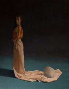 Woman with Train - 21st Century Contemporary Oil Painting of a Woman in a Dress