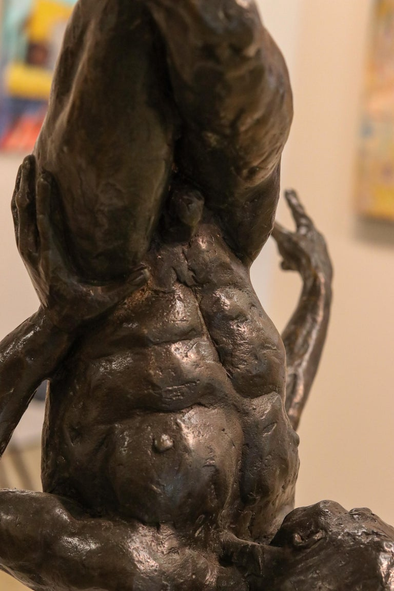 Turnover - 21st Century Contemporary Bronze Sculpture of a Dancing Nude Man For Sale 2