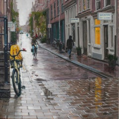 Rain in Amsterdam- 21st Century Contemporary Dutch Cityscape Oilpainting