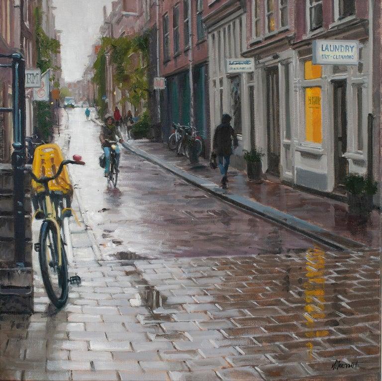 Richard van Mensvoort Figurative Painting - Rain in Amsterdam- 21st Century Contemporary Dutch Cityscape Oilpainting