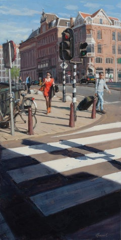 Red Dress- 21st Century Contemporary Cityscape ( Amsterdam)