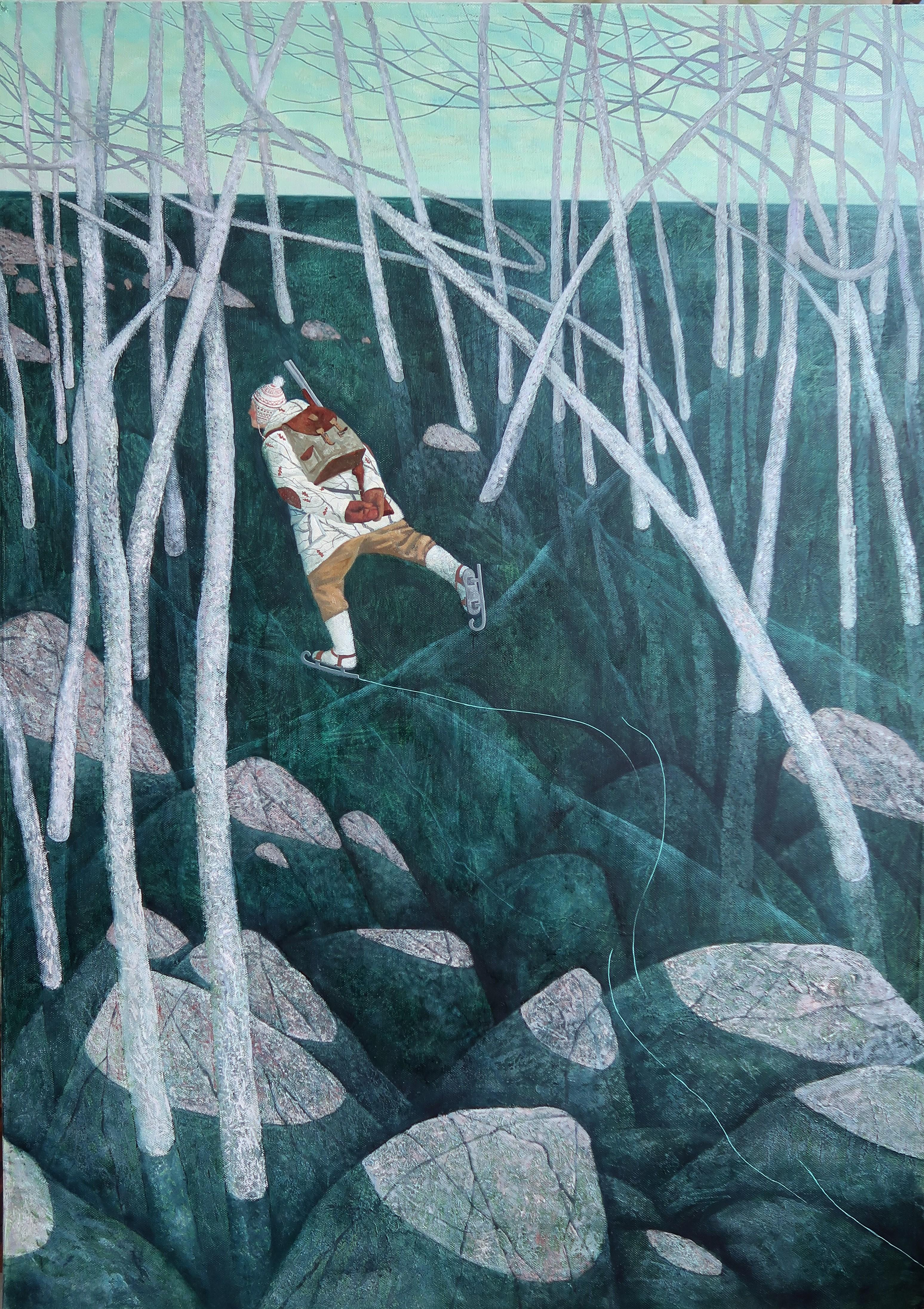 Winter hunting- 21st Century Contemporary Narrative Russian Oilpainting