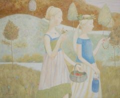 Strawberry Fields- 21st Century Russian Oilpainting of two girls