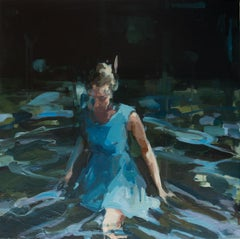 Undreamed Shores - Contemporary Oil Painting of a Woman Walking Through Water