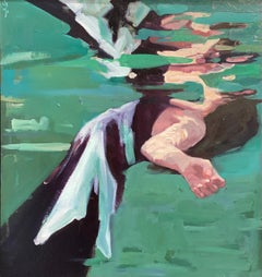 Topsyturfy-21st Century Painting of a Girl Floating in water