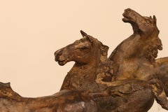 Wild Horses - 21st Century Contemporary Bronze Sculpture of Running Horses