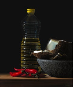 Bottle of oil with coconut and red peppers I -21st Century Still-life Painting