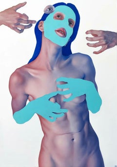 Ecstacy- 21st Century Contemporary Painting of a nude girl with expression