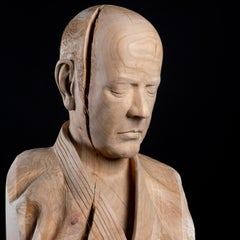 Yume- No- Uchi, Dreaming- 21st Century Contemporary Wooden Sculpture of a Judoka
