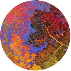 Forest Jewels- 21st Century Contemporary Oilpainting of colorful Trees