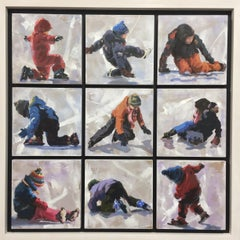 Tumbling- 21st Century contemporary painting of kids playing on snow and ice.