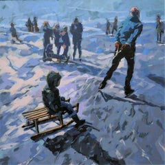 Skating, 21st Century, Contemporary Painting of ice-skating by Mitzy Renooy